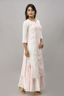 Women's Cotton Floral Printed Straight White Kurta Skirt Set