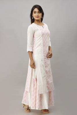 Women's Cotton Floral Printed Straight White Kurta Skirt Set
