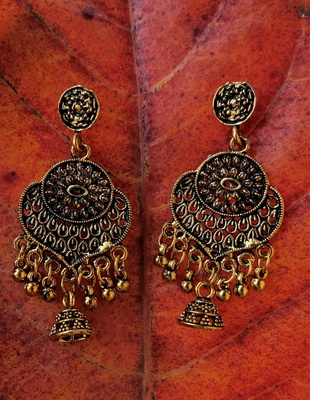 Gold Oxidised Earrings