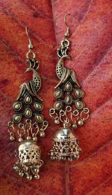 Gold Oxidised Peacock Earrings