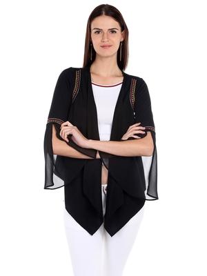 Black printed polyester crop-tops