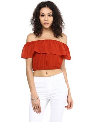 Orange printed polyester crop-tops