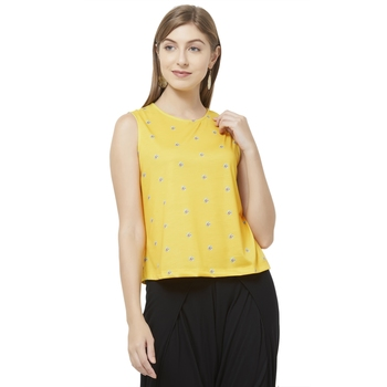 Yellow printed polyester crop-tops