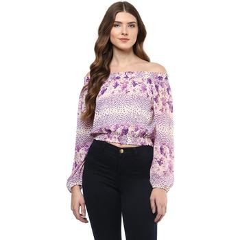 Purple printed polyester crop-tops