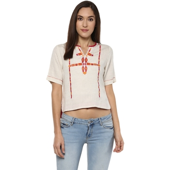 Off white printed viscose rayon crop-tops