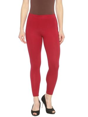 Maroon plain cotton leggings