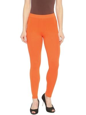 Orange plain cotton leggings