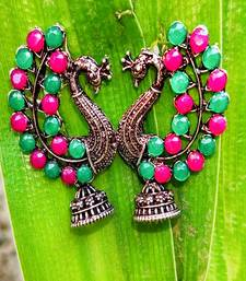 Silver Plated Pink & Green Stone Studded Peacock Earrings
