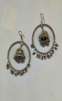 Silver Plated Oxidized Hoop Jhumki Earrings