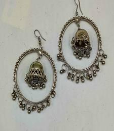 Silver Plated Oxidized Hoop Jhumki Earrings