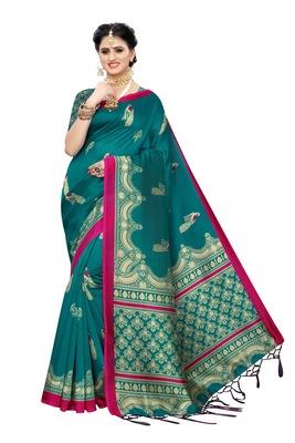 Rama_Green Printed Art Silk Saree With Blouse