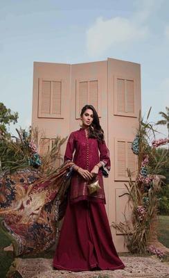 Firdous Eid Carnival EC 01  purple embroidered lawn unstitched pakistani suit