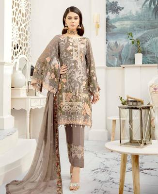 Ramsha Rangoon Volume 5 – Design 509  dark-cream embroidered lawn unstitched pakistani suit