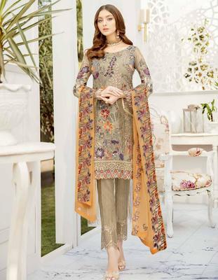Ramsha Rangoon Volume 5 – Design 505  dark-cream embroidered lawn unstitched pakistani suit