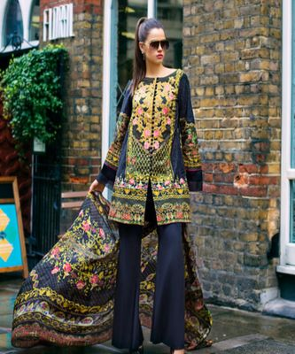 Honey Waqar by Regalia Textiles 9A  navy-blue embroidered lawn unstitched pakistani suit
