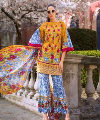 Honey Waqar by Regalia Textiles 3B  multicolor embroidered lawn unstitched pakistani suit