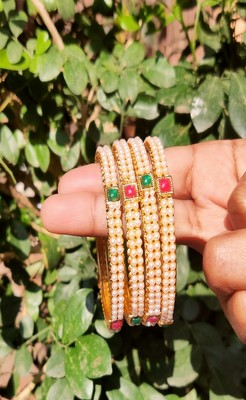White Pearls Bangles Of 4
