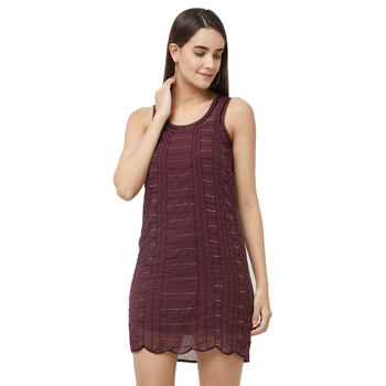 Maroon woven polyester maxi-dresses