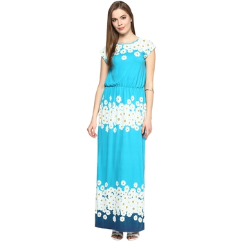 Blue woven polyester maxi-dresses