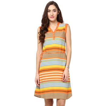 Multicolor woven viscose maxi-dresses