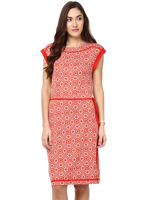 Red woven viscose maxi-dresses