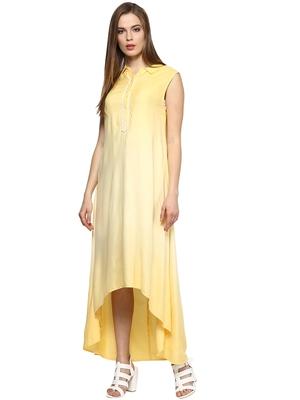 Yellow woven viscose maxi-dresses