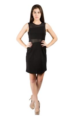 Black woven polyester maxi-dresses