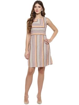 Brown woven cotton maxi-dresses