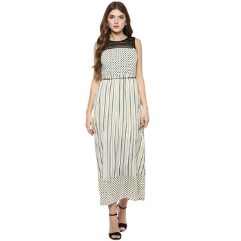 Cream woven polyester maxi-dresses