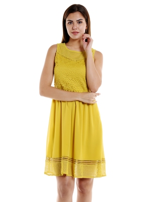 Yellow woven polyester maxi-dresses