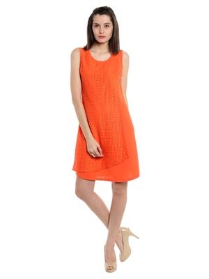 Orange woven polyester maxi-dresses