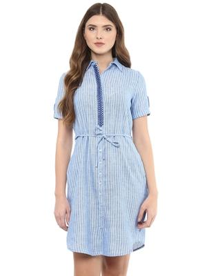 Navy woven cotton maxi-dresses