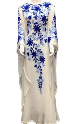 white georgette moroccan islamic dubai kaftan farasha aari and stone work dress