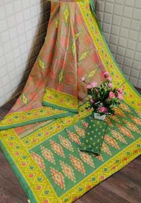 Peach Printed Silk Saree With Blouse