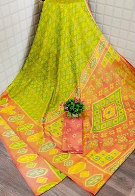 Light parrot green printed silk saree with blouse