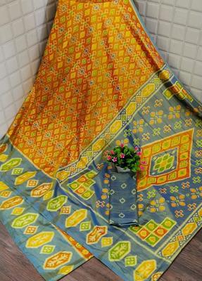 Orange printed silk saree with blouse