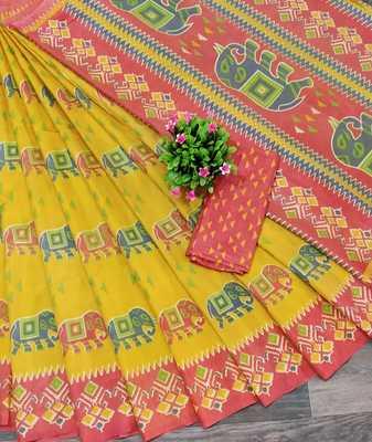 Yellow printed silk saree with blouse