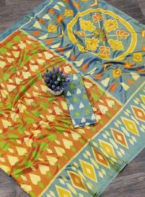 Sky blue printed silk saree with blouse
