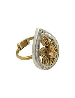 Golden Beige Antique Victorian Finger Ring Jewellery for Women - Orniza