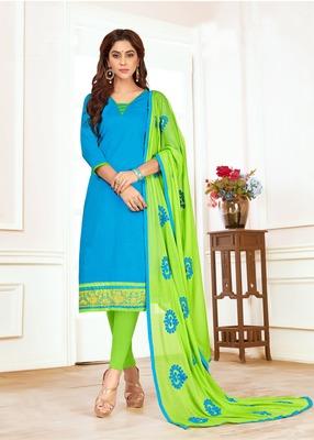 Sky-blue printed cotton salwar