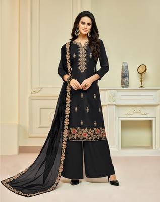 Black printed silk salwar