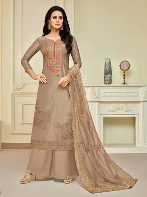 Cream printed silk salwar
