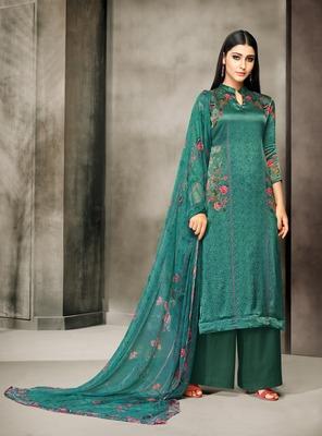 Green printed satin salwar