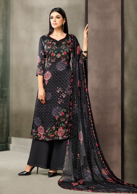 Black printed satin salwar