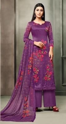 Purple printed satin salwar