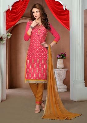 Pink printed cotton salwar