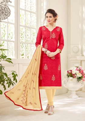 Red printed cotton salwar