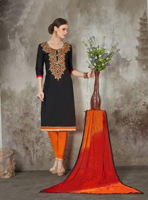 Black printed chanderi salwar
