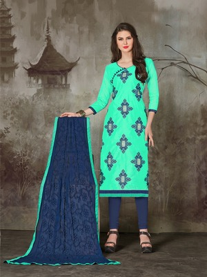Sea-green printed chanderi salwar