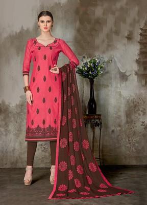 Red printed chanderi salwar